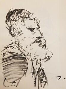 JOSE TRUJILLO Original Charcoal on Paper Sketch Drawing 18X24 STUDY Portrait Man