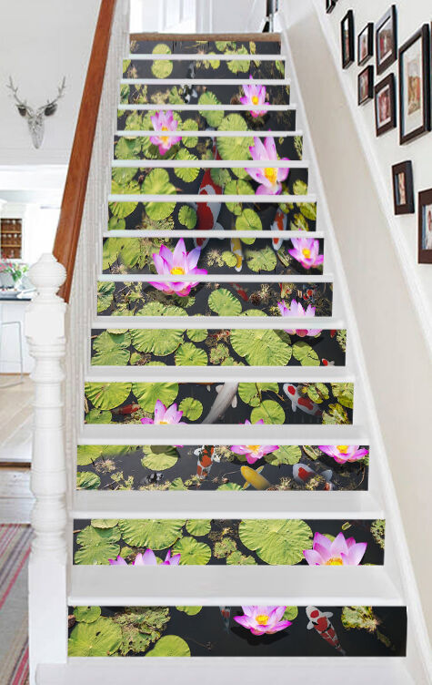3D Lotus pond Stair Risers Decoration Photo Mural Vinyl Decal Wallpaper UK