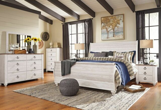 Ashley Furniture B267 Willowton White Queen King Sleigh Bed Frame