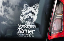 Yorkshire Terrier on Board - Car Window Sticker - Yorkie Sign Decal Gift - V03