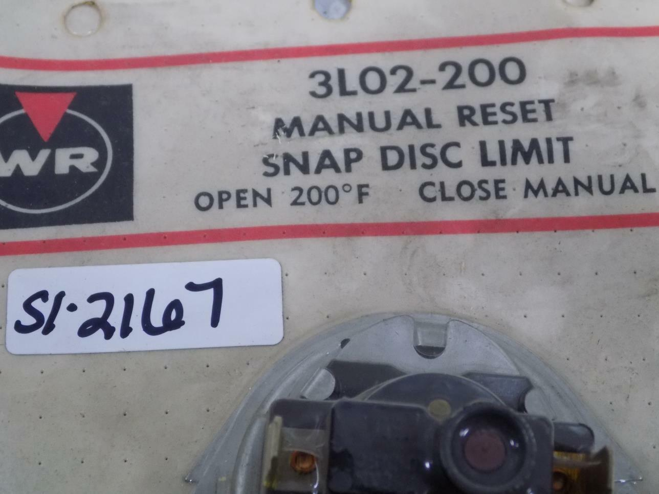 White-Rodgers 3L02-200 imit Disc 200F Manual Reset