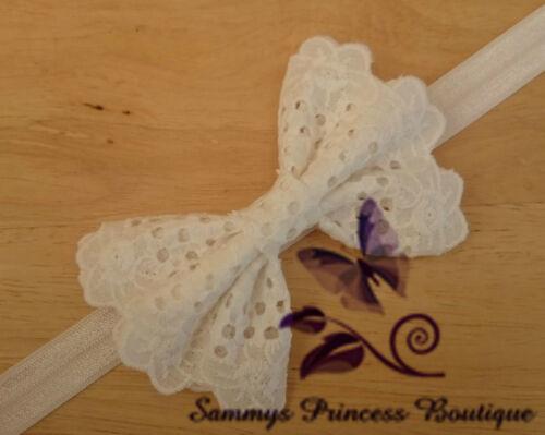 BABY GIRL VINTAGE COTTON LACE WHITE IVORY CREAM BOW HEADBAND WEDDING CHRISTENING
