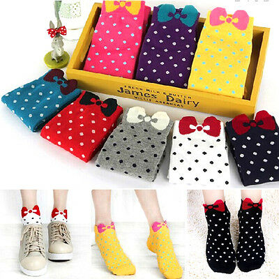 Womens' Warm Cotton Absorbent Polka Dot Cartoon Short Ankle Socks Stockings HG
