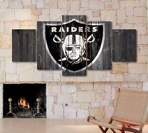 large five piece oakland raiders logo canvas hd print wall