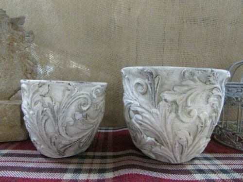 Vintage Ton Pflanzgefäß grau  mit antikem floralem Muster ca 11 cm hoch
