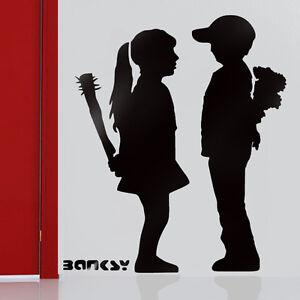 Banksy Wall Art banksy stencils reusable wall art decor boy meets girl paint