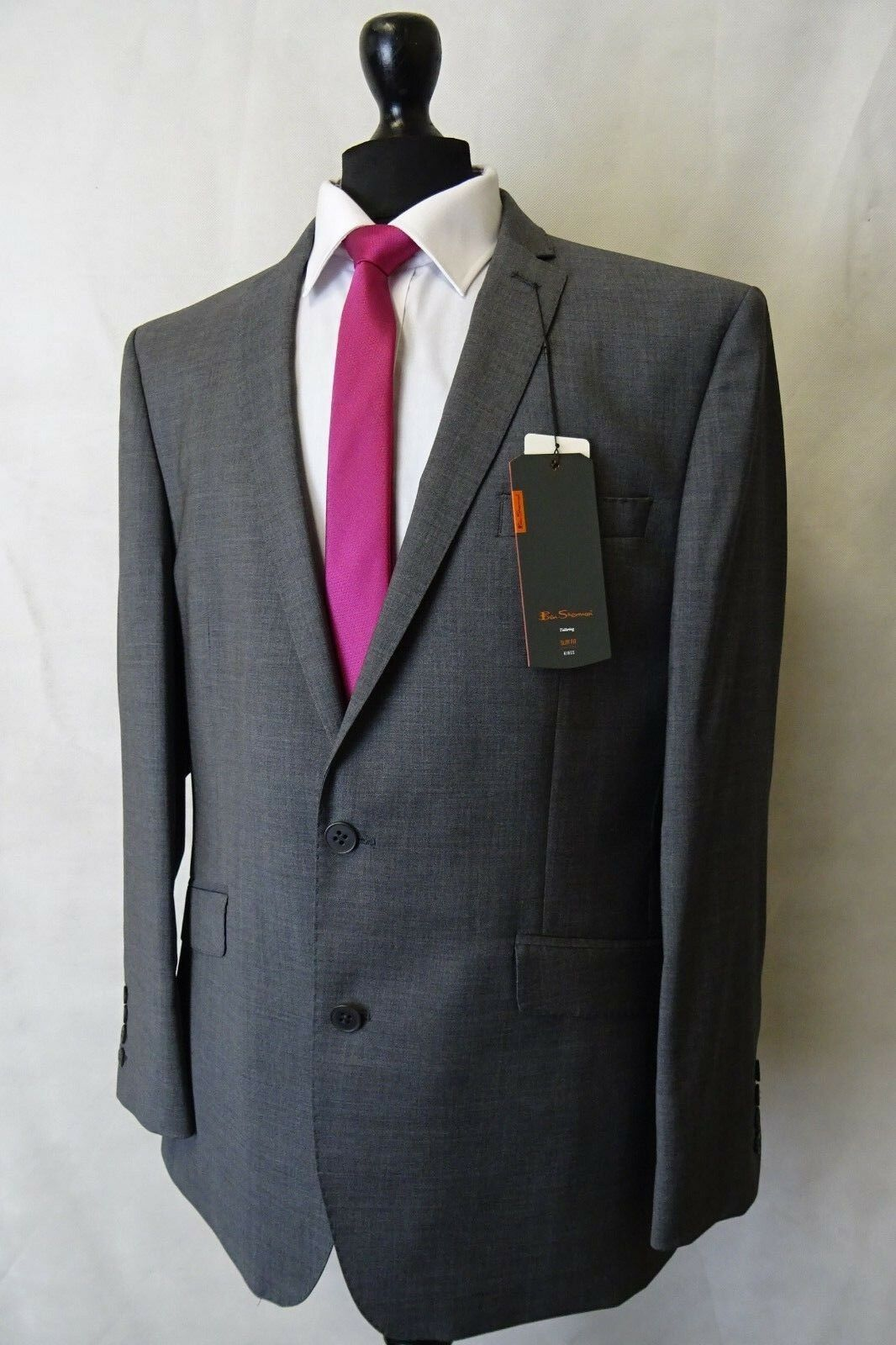 Men's New Ben Sherman Grey Slim Fit Suit 42R W36 L33 AA3072