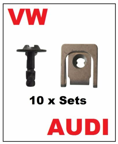 10 Sets VOLKSWAGEN AUDI Under Tray Engine Cover U Nut and Screw Fasteners