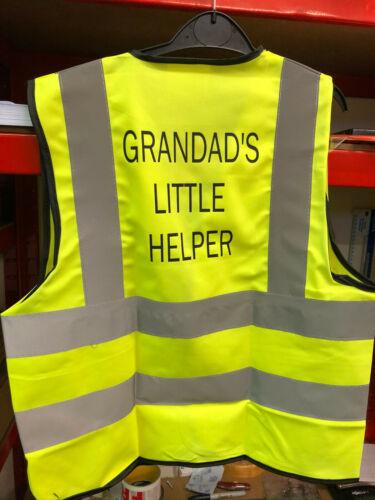 "KIDS HI-VIS VESTS /""GRANDAD/'S LITTLE HELPER/"""