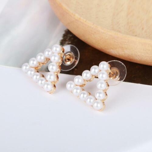 HOT Ladies Elegant Gold Plated Pearls Dangle Stud Earrings Fashion Women Jewelry