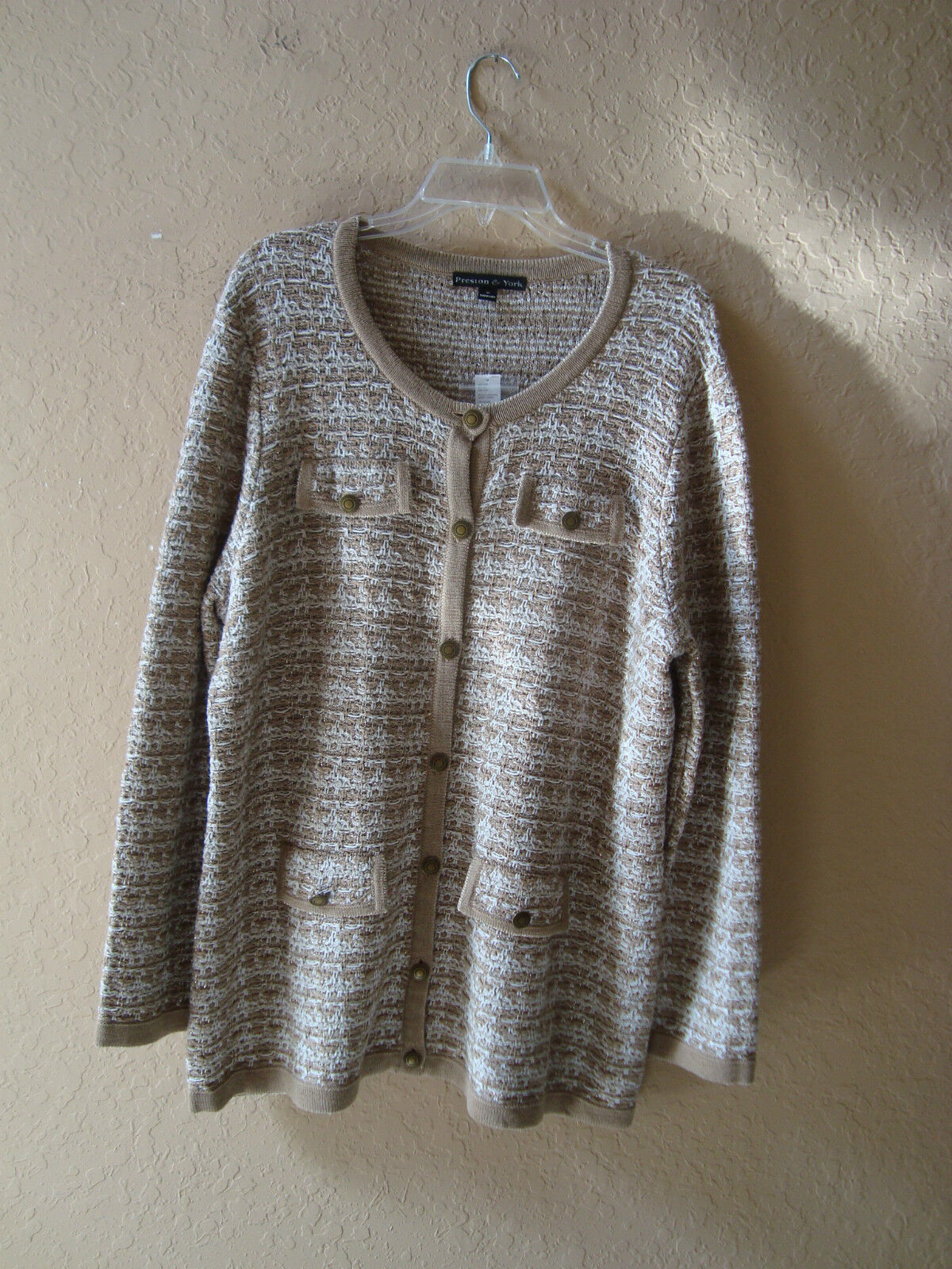 Preston & York New Womens Nancy Cardy Ivory Beige Sweater Cardigan XL