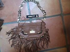 christian audigier leather fringe purse handbag with gold tone hardware