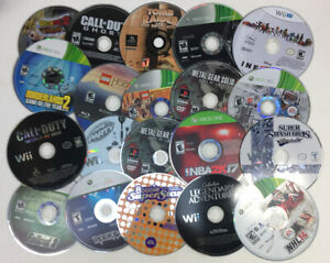 Video-Game-Disc-Lot-of-20-Wii-PS3-Playstation-2-PS2-Xbox-One-360-AS-IS