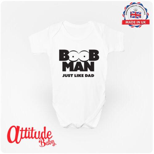 Boob Man Just Like Dad Babygrow 100/% Cotton Baby Clothing Baby Vest UK