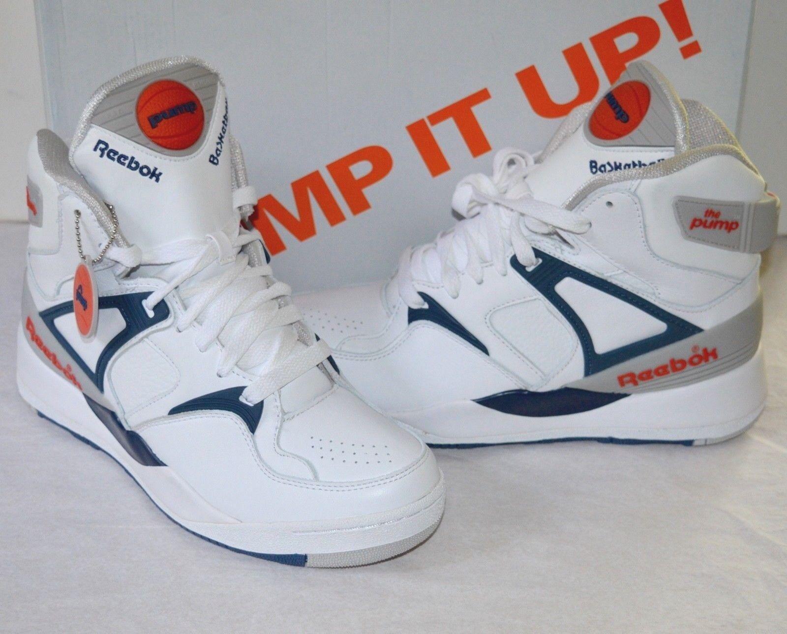 New Reebok The Pump 1989 White/Royal/Sheer/Orange sz  8.5