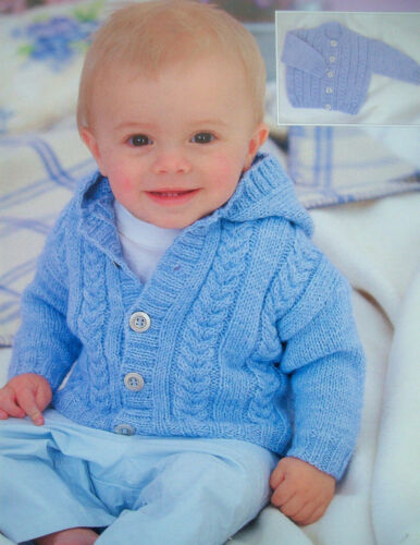 Baby Boys Girls Hooded Cable Jacket Cardigan KNITTING PATTERN DK 16-26in 0-6y