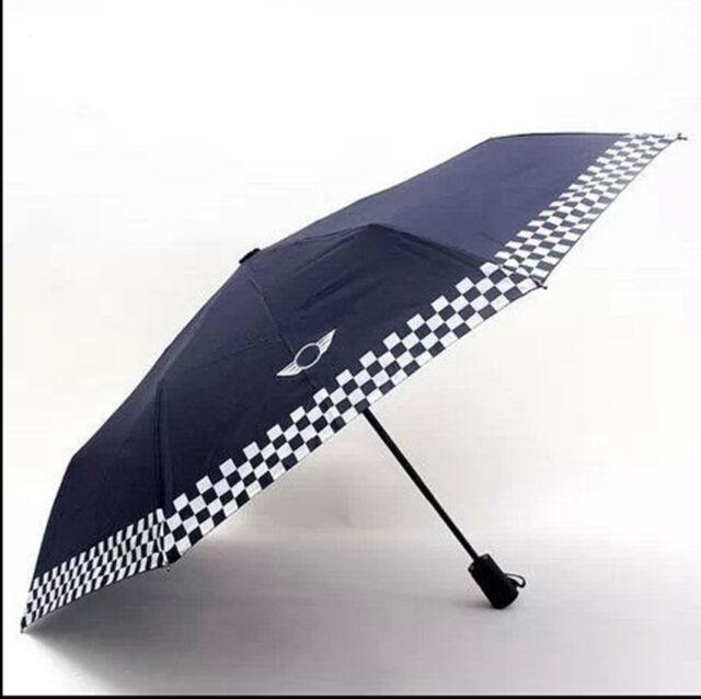 Mini Cooper Portable Automatic Folding Umbrella Umbrellas Dark Blue Checkered