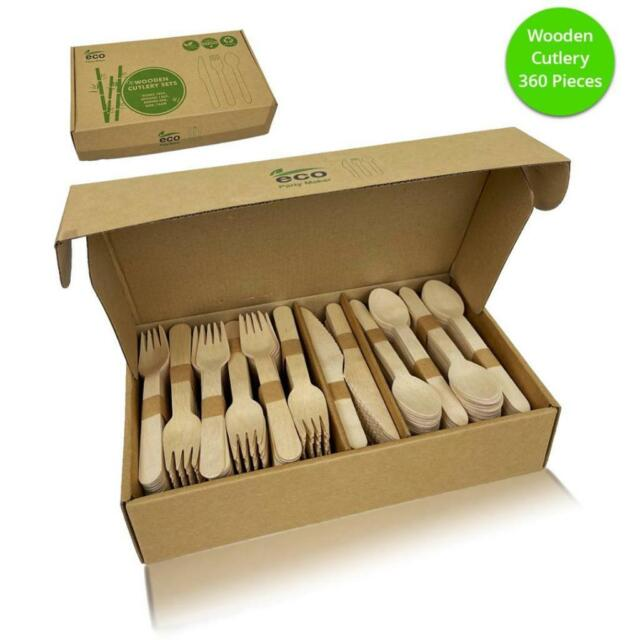 Wooden Cutlery Set Disposable Bamboo Wood Bulk Buy Forks Spoons Knives 360PC