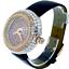 miniature 3 - 14k Rose Gold Custom Unisex Round Baguette Cut Leather Wrist Watch Simulated New