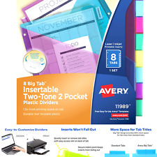 Avery Plastic 8 Tab Two Tone Binder Dividers With Two Pockets Insertable Bri