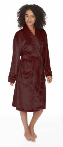 Womens Luxury Dressing Gowns Super Soft Fleece Shawl Collar House Bath Robes UK
