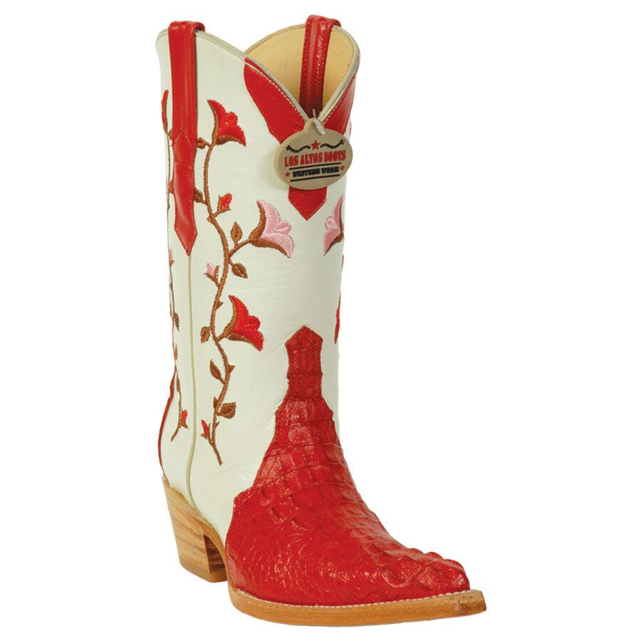 ROT Caiman Hornback Stiefel For Damens Genuine Exotic Skin Los Altos Stiefel Handmade