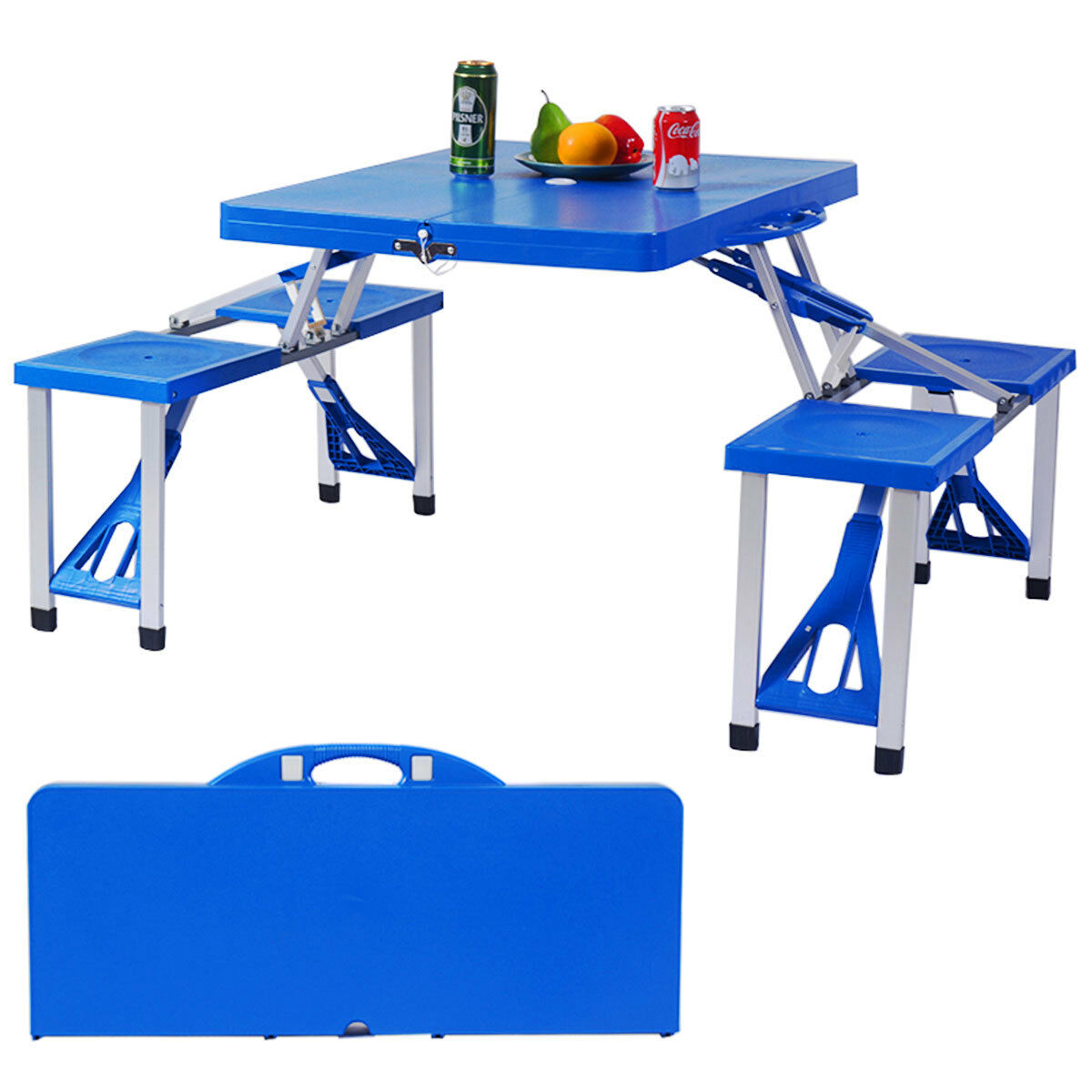 Outdoor Foldable Portable Aluminum Plastic Picnic Table Camping w   Bench 4 Seat  order now