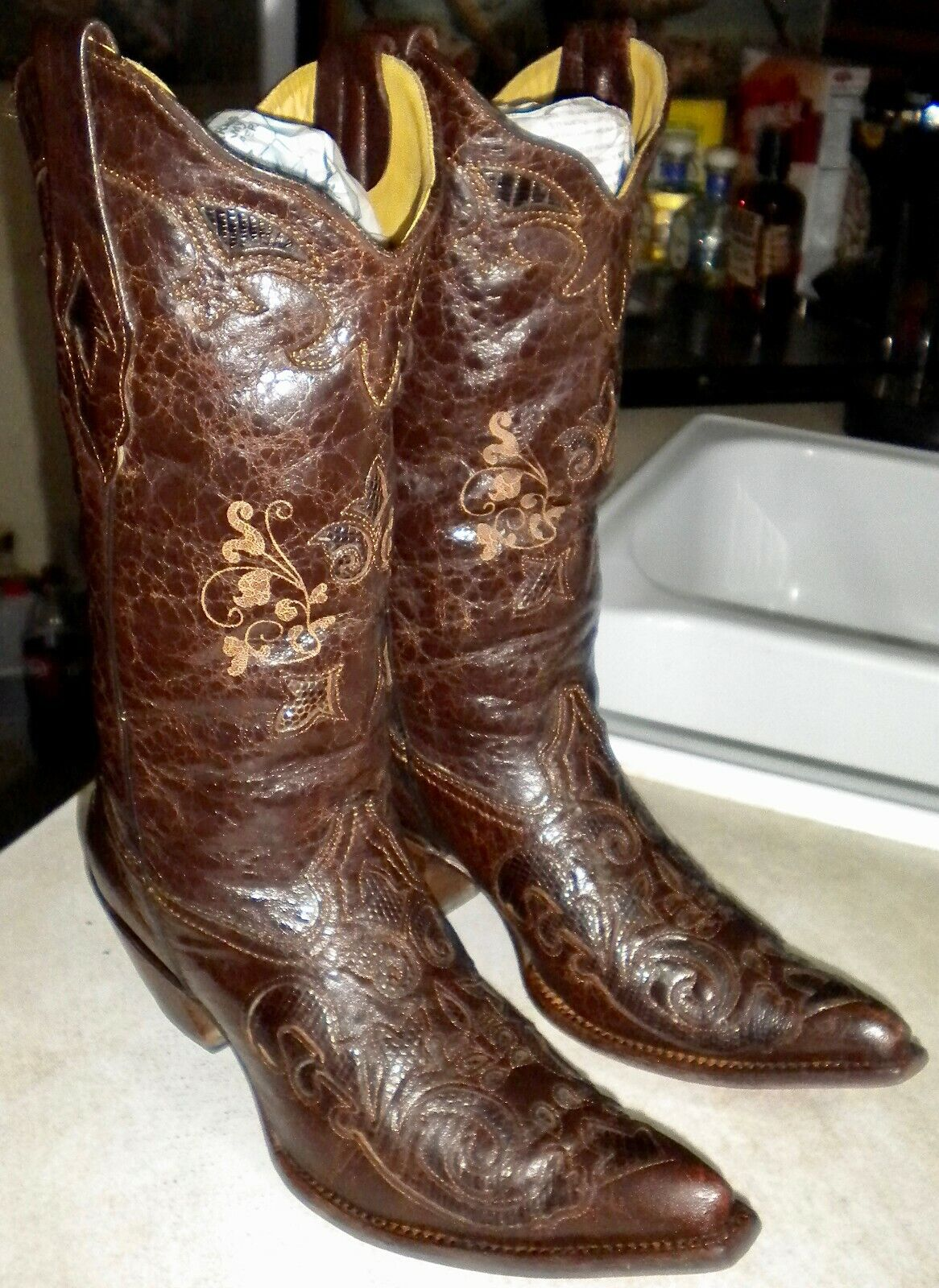 WOMENS 9 M CORRAL   C2109 Chocolate Lizard Inlay POINTED TOE WESTERN BOOTS