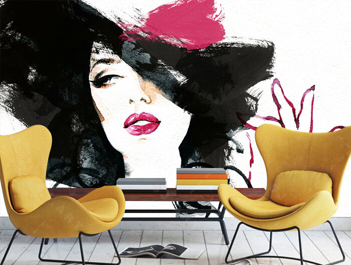 3D rot lips woman Wall Paper Print Decal Wall Deco Indoor wall Mural