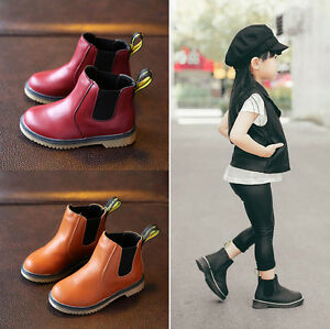 AUTUMN-WINTER-BOYS-GIRLS-KIDS-SCHOOL-CASUAL-SHOES-FLAT-ANKLE-BOOTS-LEATHER-BOOTS