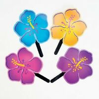 Lot Of 12 Hibiscus Shaped Fans Luau Pool Party Favors