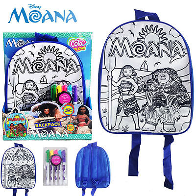 Disney Moana Colour Your Own Backpack Toddlers Kids School Soft Shoulder Bag Toy