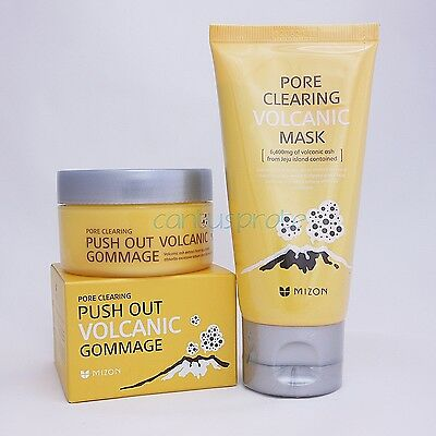 MIZON Pore Clearing Volcanic Mask 80g+Pore Clearing Push Out Volcanic Gommage60g