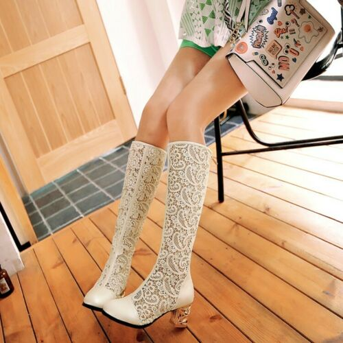 Occident Womens Lace Round Toe Summer Knee High Sandal Boots Mid Block Zip Shoes