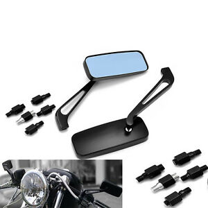 Black Motorcycle Rear View Side Mirrors 8mm 10mm For Honda Suzuki Yamaha