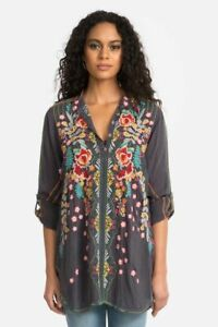 Johnny-Was-Lyndsey-Tunic-Graphite-Blouse-Top-Flower-Embroidery-Long-Medium-NEW
