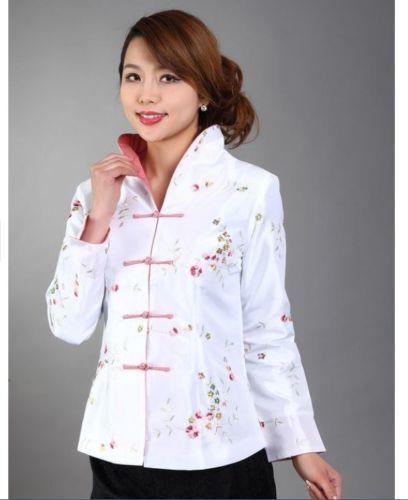 blue Chinese Women/'s silk embroidery jacket coat Cheongsam Sz M L XL 2XL 3XL