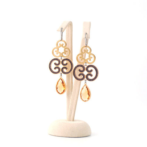 Rebecca BLXOOM16 LUIGI XIV earrings 18K gold plated bronze crystal MADE IN ITALY