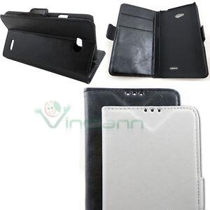 Custodia-pelle-per-LG-L70-BOOKLET-supporto-stand-tasche-schede-cover-bianca-nera
