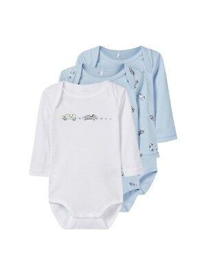 Name It 3er Manica Lunga Baby Body Set Blu Chiaro Bianco Auto Dimensioni 50 A 98-
