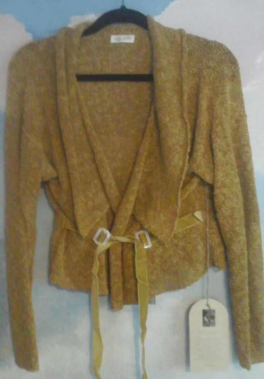 Krista Larson Horizon Cardigan In 100% Cotton Yarn In Gold, OS