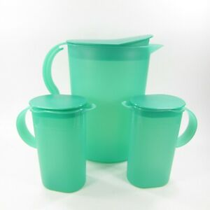Tupperware Impressions Slimline Pitcher #3333 + (2) smaller pitchers #3535 Green
