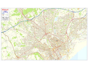 *BRAND NEW* LARGE LAMINATED POSTCODE WALL POSTER MAP OF CARDIFF CITY CENTRE AREA