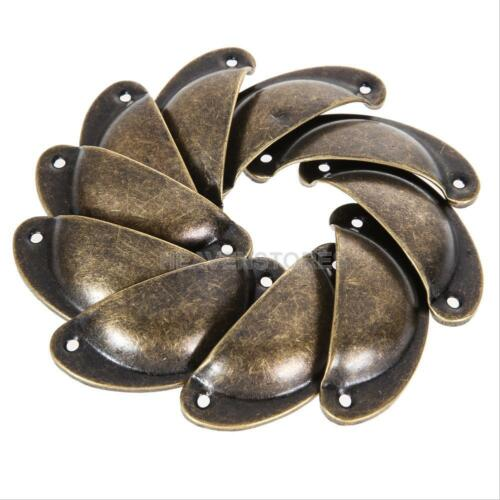 10pcs Antique Cupboard Cabinet Door Knob Drawer Furniture Shell Pull Handle y#