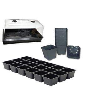 """10"""" X 20"""" Plant De Plateau, Ventilé D'humidité Dôme, 18 Square Pots, Insert Kit-afficher Le Titre D'origine"""