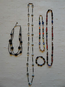 Necklace-Lot-4pc-and-Bracelet-Glass-Beads-Vintage-and-Contemporary-Bohemian