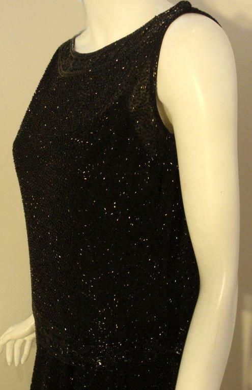 CEIL CHAPMAN 1960s Vintage 2 pc Black Beaded Gown - image 7