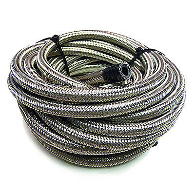 "AN -4 AN4 3/16"" 5MM Stainless Steel Braided RUBBER Fuel Oil Hose Pipe 1 Metre"