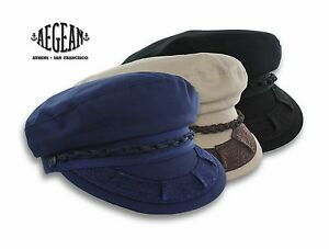 7ee5371e597 Greek Fisherman Cap Aegean Cotton Sailor Hat Black Tan Size XS S M L ...