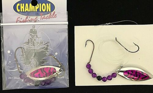 2 CHAMPION WORM HARNESS #4 WILLOW LEAF  NICKEL PURPLE OVAL TIGER TAPE  1 BLADE